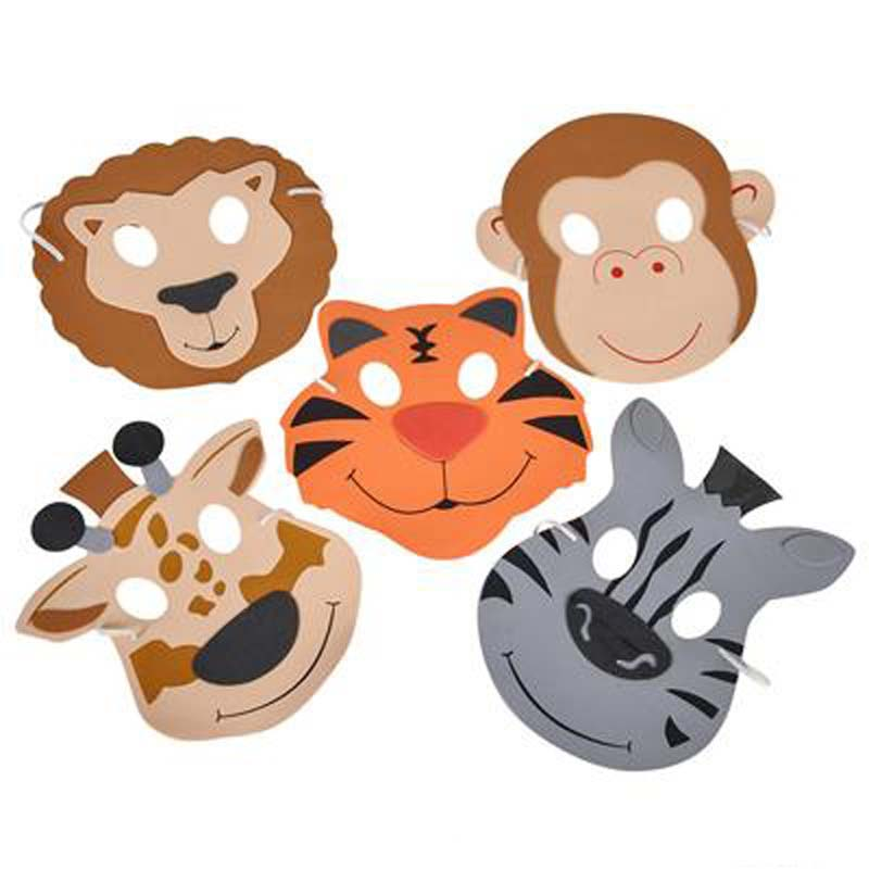 "(Dozen) 7.5"" Foam Zoo Animal Masks"