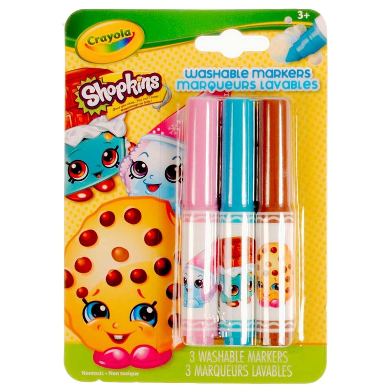 Crayola: 3 Piece Washable Pip-Squeaks Markers - Shopkins - Kookie Cookie