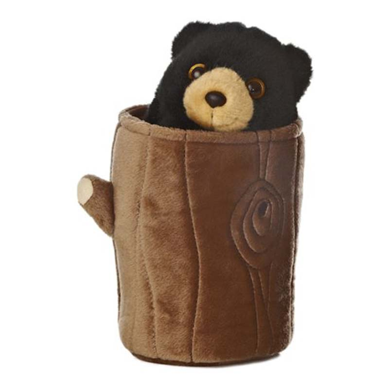 Plush - Black Bear Pop Up Puppet - 11""