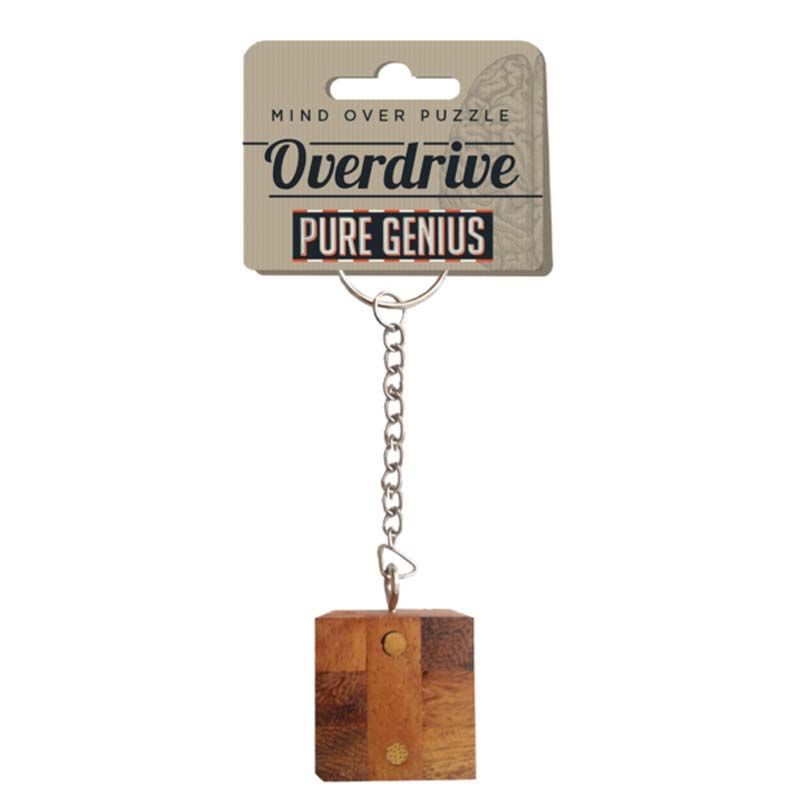 Brainteaser Wooden Puzzle Keychain - Pure Genius Over Drive