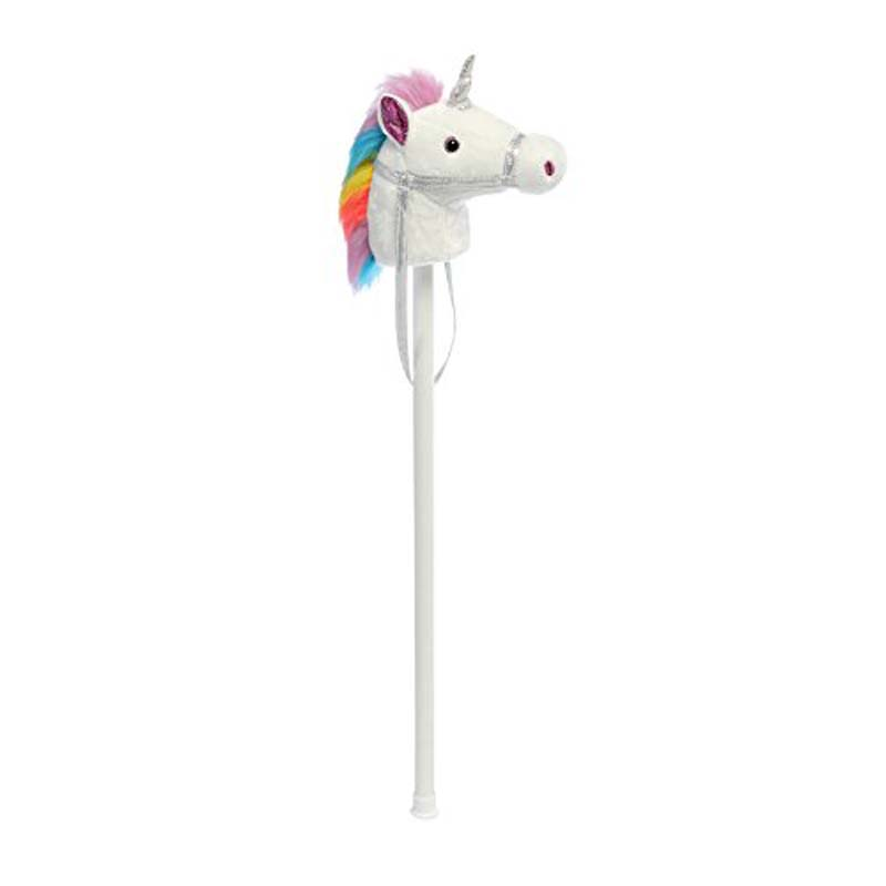 Giddy Up Stick White Unicorn With Sound 39""