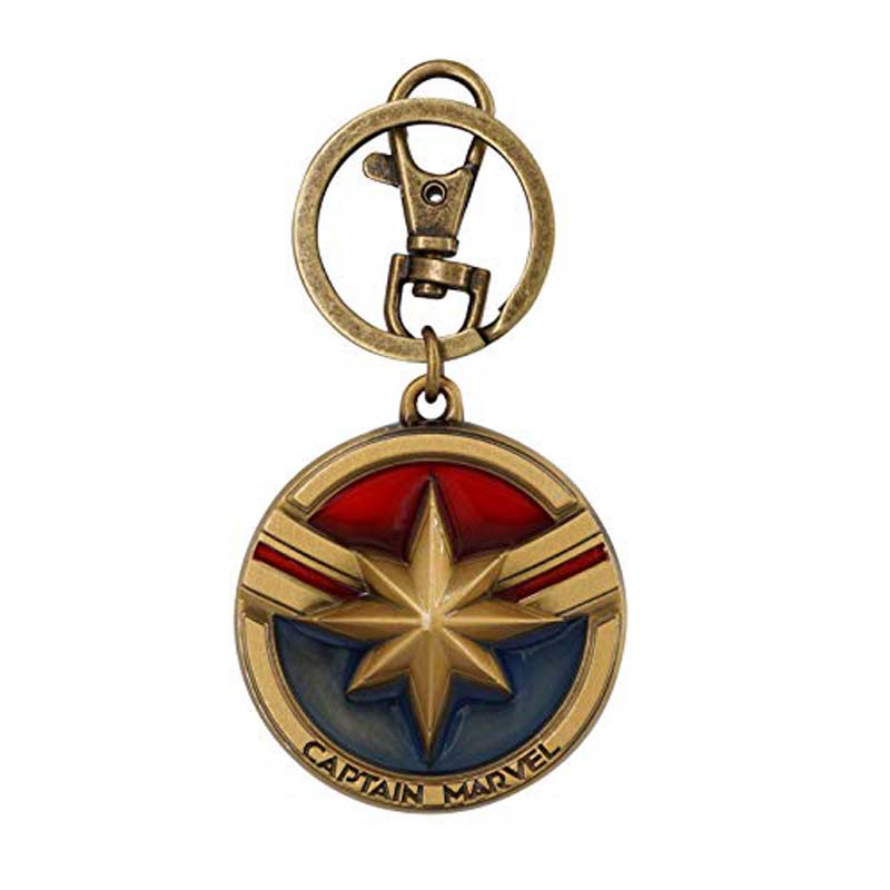 Pewter Colored Keyring - Captain Marvel Logo