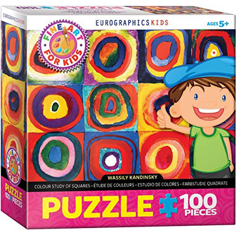 100 Piece Kids Puzzle - Color Study of Squares by Wassily Kandinsky