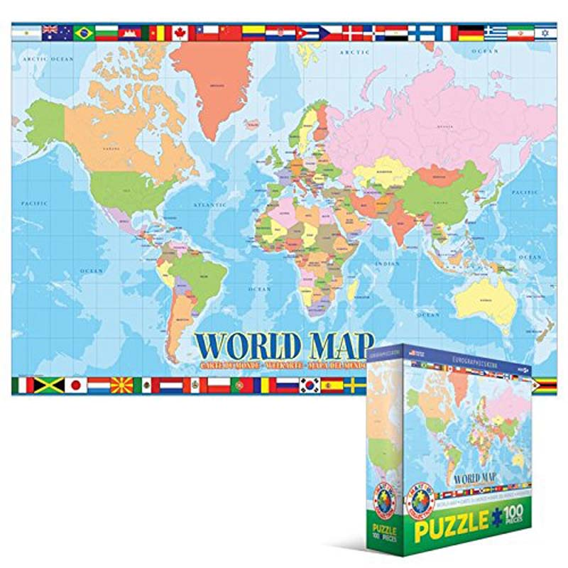 100 Piece Kids Puzzle - World Map
