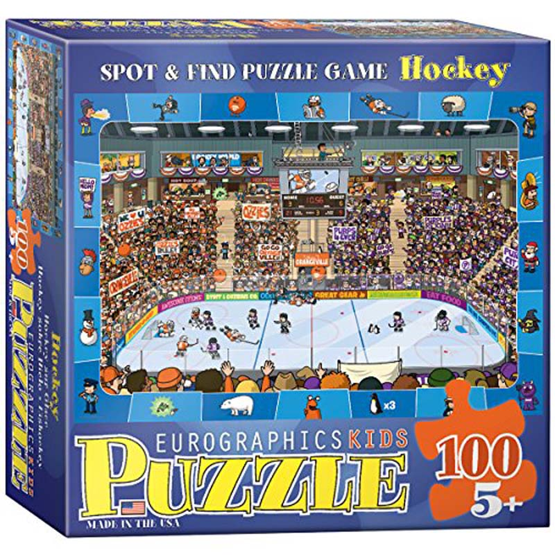 100 Piece Kids Puzzle - Hockey - Spot & Find