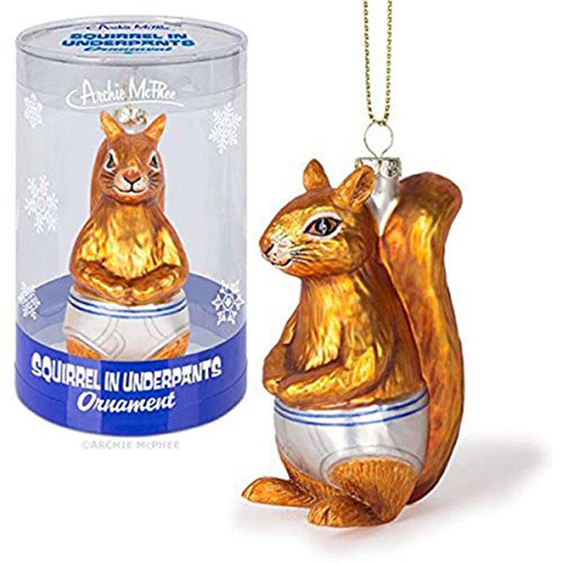 Ornament - Squirrel Underpants Glass