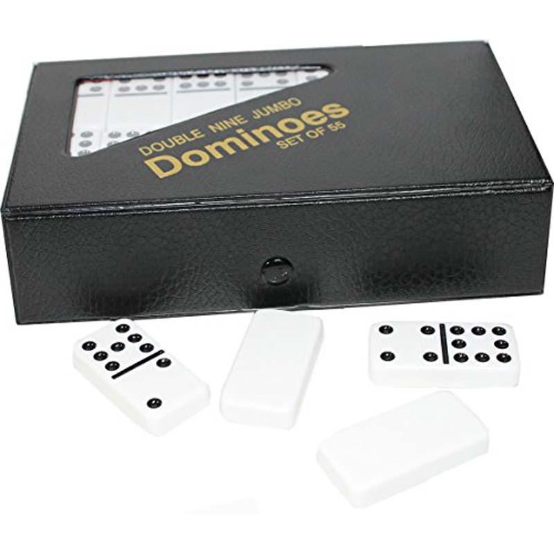 Double 9 Jumbo White Dominos With Vinyl Case
