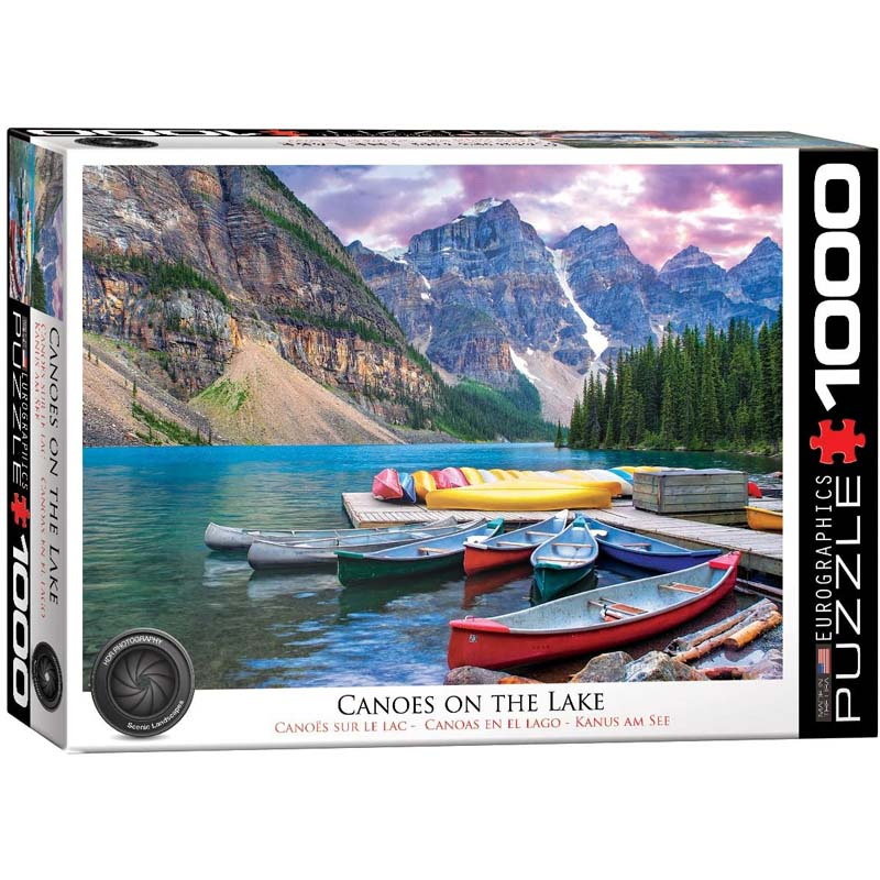 1000 Piece Puzzle - Canoes on the Lake