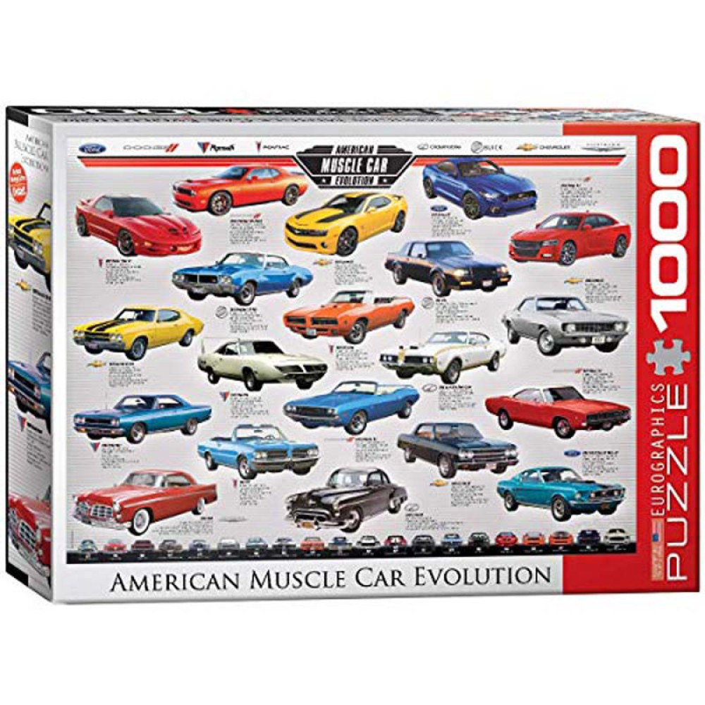 1000 Piece Puzzle - American Muscle Car Evolution
