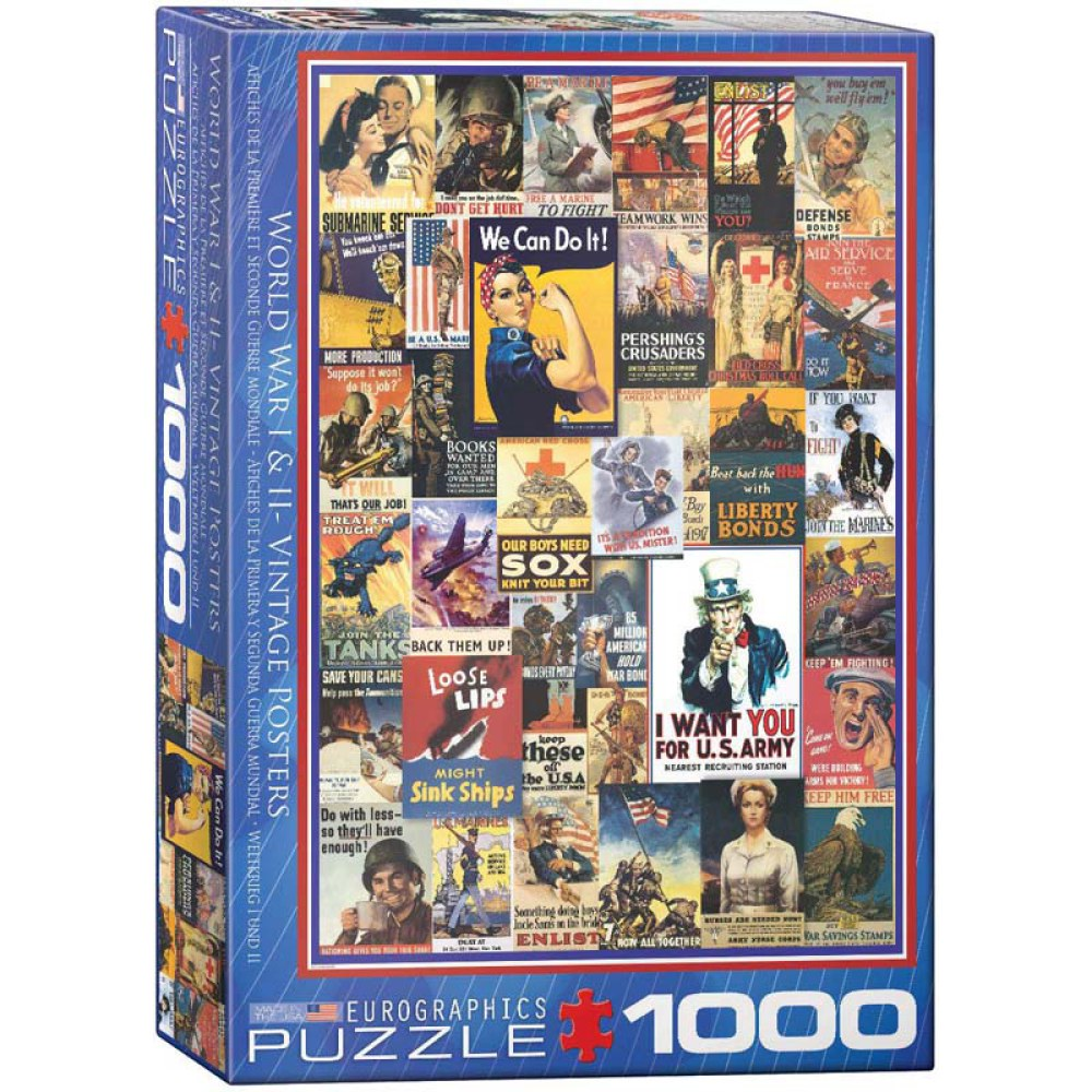 1000 Piece Puzzle - World War I & II - Vintage Posters