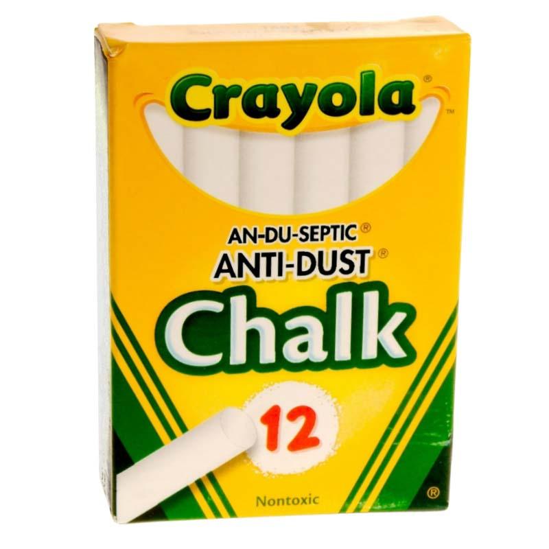 12 Sticks - Anti-Dust White Chalk - Tuck Box