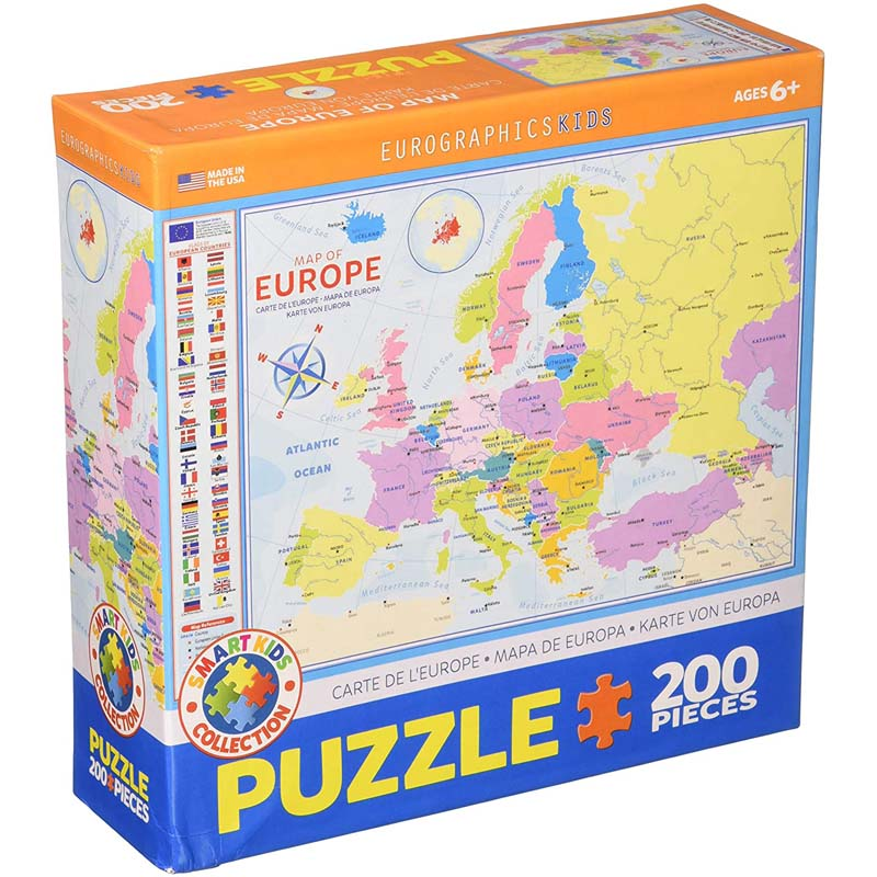 200 Piece Puzzle - Map of Europe - Kids Puzzle