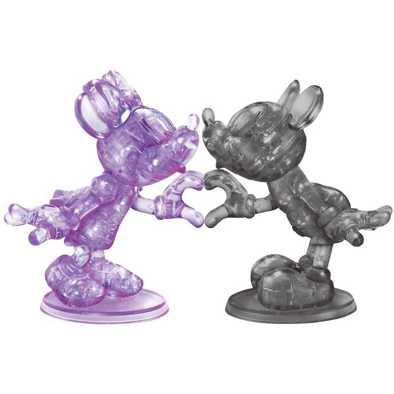 BePuzzled - 3D Crystal 68 Piece Puzzle - Mickey and Minnie Heart - (Black and Purple)