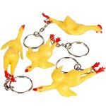 Small Rubber Chicken Keychain