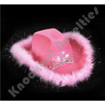 Light-Up Tiara Pink Cowgirl Hat with Feathers