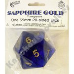 Sapphire Gold Countdown 20 sided Die Transparent 55mm