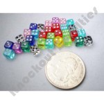 Assorted Colored Dice : 6 sides : Htube : 5mm : 30 per package