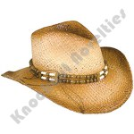 Rolled Up Cowboy Hat With Beaded Band