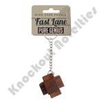 Brainteaser Wooden Puzzle Keychain - Pure Genius Fast Lane