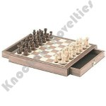 "10"" Dark Wood Magnetic Chess Box"