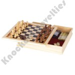 6-In 1 Game Set - Chess, Checkers, Backgammon, Poker Dice, Dominoes, and Playing Cards