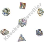 Set of 7 Polyhedral Dice - Festive Carousel, White