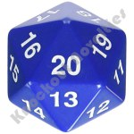 55mm Jumbo 20 Sided Die - Blue with White