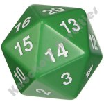 55mm Jumbo 20 Sided Die - Green with White