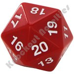 55mm Jumbo 20 Sided Die - Red with White