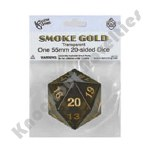 55mm Jumbo 20 Sided Die - Smoke with Gold