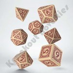 7 Viking Dice Set - Beige And Burgundy