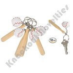 "Dozen - 3"" Wooden Bat With Baseball Keychain"
