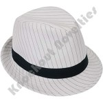 White With Black Stripes Gangster Fedora