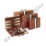 "11"" Vinyl Brown With Stripes Backgammon Set"