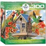 300 Piece Puzzle - Trumpet Vines & Tree Sparrows by Janene Grende
