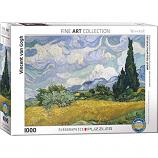 1000 Piece Puzzle - Wheat Field with Cypresses by Vincent Van Gogh